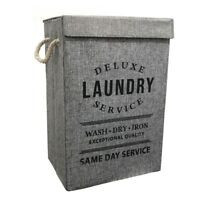 Modern Deluxe Laundry Hamper Foldable Storage Basket Box With Lid Rope Handles