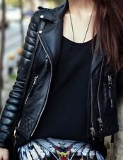 Womens Ladies Classic Boda Quilted Diamond Real Soft Sheep Skin Black Jacket
