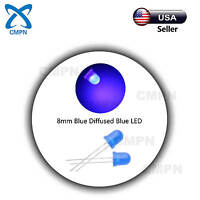 50Pcs 8mm LED Blue Diffused Round Top 2pin Bright Bulb Light Emitting Diode Lamp