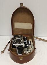 Vintage Bolex Paillard Movie Camera w/ Leather Case & Additional Lens England