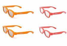 4 paia di bambini passivi occhiali 3D 2 ROSSO 2 ORANGE LG TOSHIBA Cinema LG