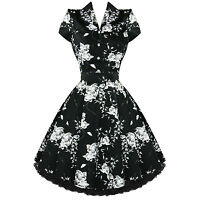 Ladies Black Floral Vintage 50s Retro Rockabilly Party Prom Swing Tea Dress UK
