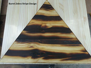 """Custom Anywhere Triangle Table Burnt wood design with 16"""" Metal legs"""