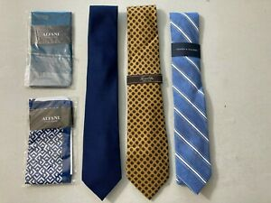 Tommy Hilfiger, Tasso Elba, Alfani Lot of 5 Ties & Pocket Sq Silk, Polyester