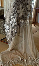 Magnificent Vintage French Crochet Cotton & Tambour Lace Curtain Chestnuts  20's