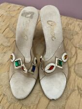 Vintage Lucite Heel 1950S 1960S Rhinestone Shoe Women's Size 5 5.5 6 Vlv