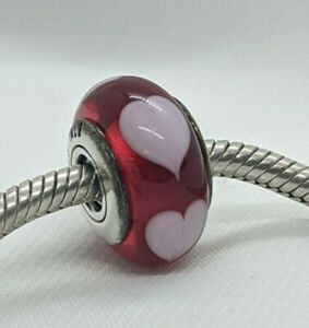 Authentic Pandora Murano Red Love Pink Hearts Charm Bead 790658 Sterling Retired