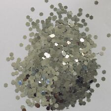 100g CHUNKY 3mm 125hex SILVER LARGE HEXAGON SEQUIN FESTIVAL FACE GLITTER LOT
