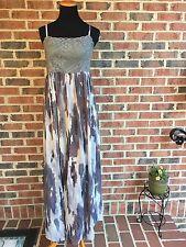 NWT Ryu Anthropologie Boho Gray Crochet Top Maxi Dress Size Small