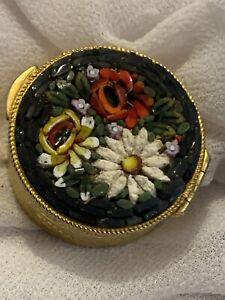 Vintage Italian Micro Mosaic Pill Box Trinket Flower Bouquet Gold Tone Italy