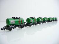 Minitrix N 51 3546 7-teiliger Kesselwagen Zug TEXACO 2-achsig grün