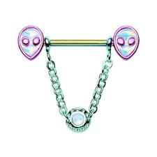 Nipple Barbell Ring Sexy Beautiful Rainbow Out of this World Alien Dangle Chain