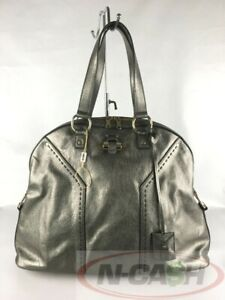 BIDSALEONLY! AUTHENTIC $1650 YVES SAINT LAURENT Oversized Muse Metallic Grey Bag