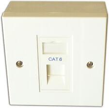 5x Cat 6 1 Way Data Network Outlet, Faceplate, Module, Backbox. LAN Ethernet