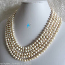 """100"""" 5-7mm White Freshwater Pearl Necklace Strands Jewelry"""