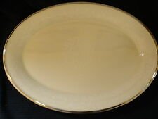 "Lenox Moonspun Oval Platter 16"" White Flowers Rim Center L MOON Silver Trim Spun"
