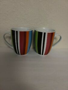 Lot of 2 OUI by French Bull Coffee Mug/ Cup Multi-color Vertical stripes EUC