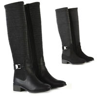 Womens Flat Low Heel Stretch Knee High Boots Ladies Grip Sole Winter Shoes Size