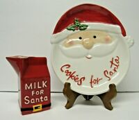 Cookies and Milk for Santa St Nicholas Plate Christmas Holiday Set Of 2