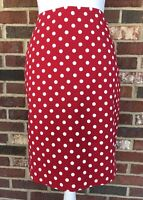 TALBOTS PETITES **SIZE 2P** RED WITH WHITE POLKA DOTS STRAIGHT PENCIL SKIRT
