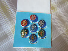 Vintage RUSSIAN / USSR Set of 7 SAMOVAR Tea Coffee Urn Badges in Folder