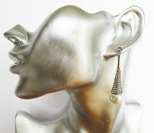 Beautiful Art Deco Design Crystal & Faux Pearl Dangle Earrings 5.5 cms Drop