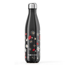 Proworks Black Floral Daisy Stainless Steel Metal Water Bottle Cute Drinks Flask