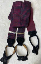 Trafalgar Button Suspenders Striped Burgundy and Navy Black Suede & Silver