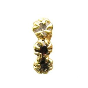 3 Stone White CZ Body Piercing Nose Stud, Gold Plated Nose Ring Nose Pin