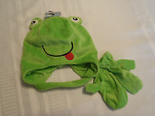 Polar Wear Green Frog Face Winter Warm Hat Mittens Set NWT Easy Close Chin Strap
