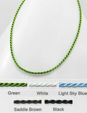 """Green Twisted Rope Chain Necklace Silk Cord 19.5"""" Long 2mm Thin Japanese"""