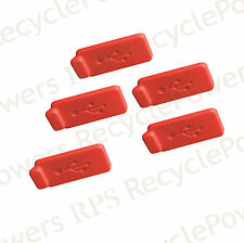 5 Red RUBBER SILICONE ANTI DUST USB PLUG COVER STOPPER for Computer Laptop