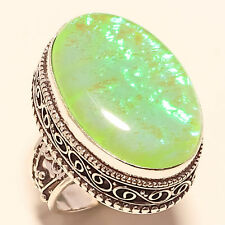 """SIZE 7 LARGE HEAVY COCKTAIL OPAL LAB NEW 925 STERLING SILVER RING 1.25"""" R36"""
