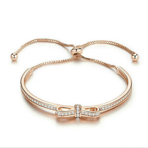 High Quality Gold Bowknot Cubic Zircon Bangles Bracelets Engagement Jewelry