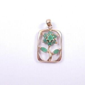 Emerald Pendant Flowers 9 carat yellow gold