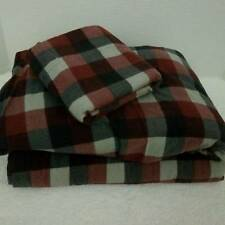 Woolrich Flannel Twin Sheet Set 100% Cotton Red Gray Plaid Flat Fitted Case