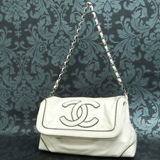 Rise-on CHANEL Calf Skin Leather White Handbag Shoulder bag #2105
