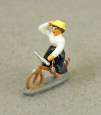 J CARLTON BY GAULT FRENCH MINIATURE FIGURINE PARISIAN WOMAN RIDING BICYCLE