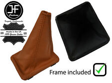 BROWN TOP GRAIN  LEATHER GEAR BOOT + PLASTIC FRAME FOR VW GOLF MK1 RABBIT JETTA