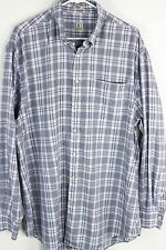 Peter Millar Mens Sz XL White Light Blue Gray Check LS Button Front Shirt