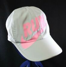 Nike Featherlight Dri-Fit solid Run Hat Cap Gray Pink letters