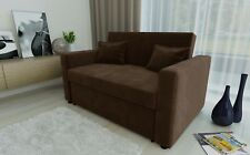 RAVENA 2 Seat Sofa Bed Brown Fabric Click Clack Pull out Living Room Sofabed