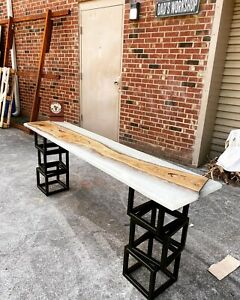 Epoxy with OAK End console table WITH CUSTOM MADE METAL LEGS