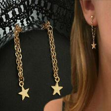 Trendy Hanging Hoop Chain Star Gold Plated Tassel Drop Dangle Threader Earrings