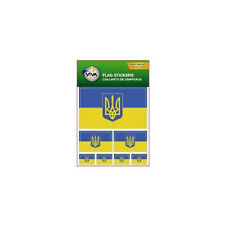 UKRAINE WITH TRIDENT , SET OF 7  COUNTRY FLAG VINYL CAR STICKERS , 3 SIZES..NEW