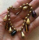 """DVF Bracelet Steampunk  Teardrop Glass Military Chain Diane von Furstenburg 7.5"""""""