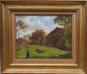 Tableau DESGOFFE paysage Auvergne bergère puy Puy-de-Dôme peinture française 19e