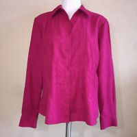 Womens Talbots Dark Pink Long Sleeve Button Up Shirt Blouse Top Size Medium