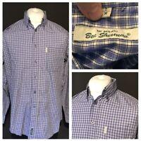 Ben Sherman Men's Casual Shirt Blue Check Medium Long Sleeve 100% Cotton