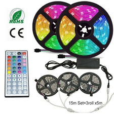 5M 10M 15M LED Strip Light RGB 5050 Flexible Ribbon RGB lamp 44key Remote KIT